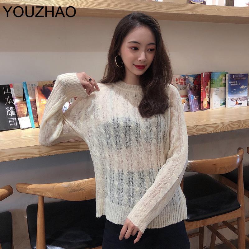 Nuevo resorte de las mujeres de Corea del suéter de manga larga atractiva del O-Cuello ahueca hacia fuera transparente Mujer en perspectiva superior de la vendimia delgada del suéter de las mujeres