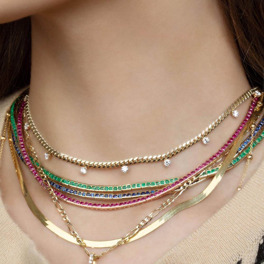Gold Chain del Choker di alta qualità semplice di modo di personalità bianco verde tondo penzolare cz fascino donne collana breve