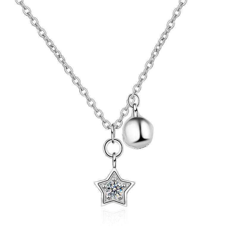 MEEKCAT Véritable argent 925 étoiles de Bell Charm femmes collier pendentif bijoux en argent sterling