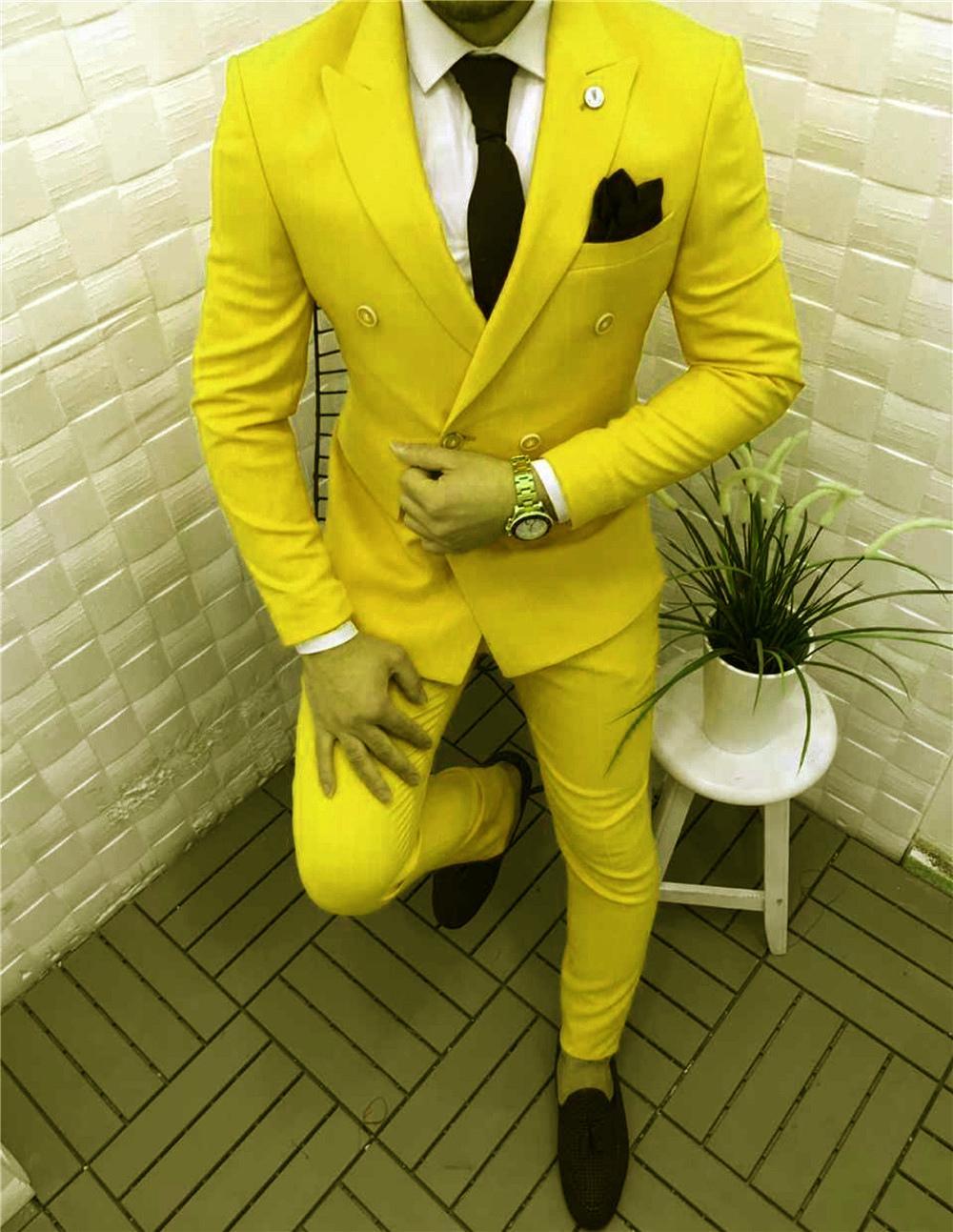 Popular Peak Lapel Groomsmen Double-Breasted Groom Tuxedos Men Suits Wedding/Prom Best Man Blazer ( Jacket+Pantst+Tie) Y08