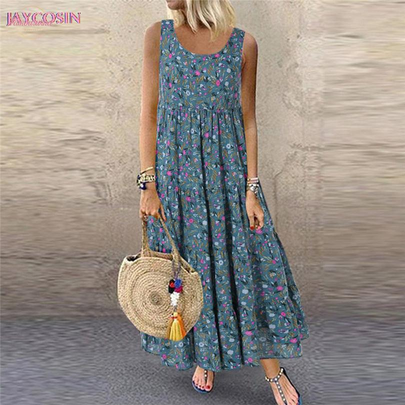 2020 Dress женщины повседневные свободные рукавов цветочный ежедневный льняной принт длинное платье римский стиль плюс размер 5XL падение 0626