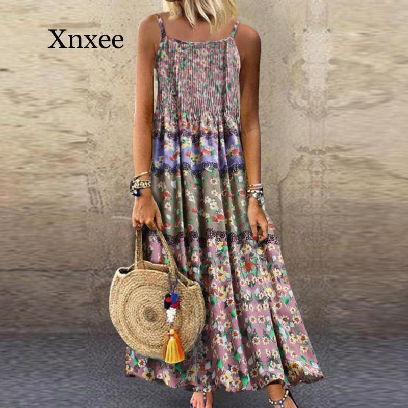boho largo sin mangas atractivo del vestido del verano floral de la vendimia Imprimir Maxi vestido casual de las señoras O-Cuello recto flojo Boho vestidos de la playa