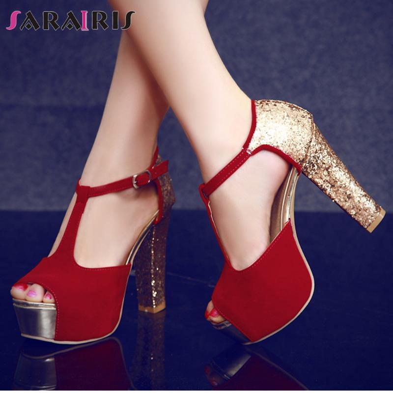 SARAIRIS hembra atractiva de la hebilla de correa del peep toe sandalias de verano sandalias de las mujeres T Correa zapatos de tacón alto del banquete de boda de Bling mujer