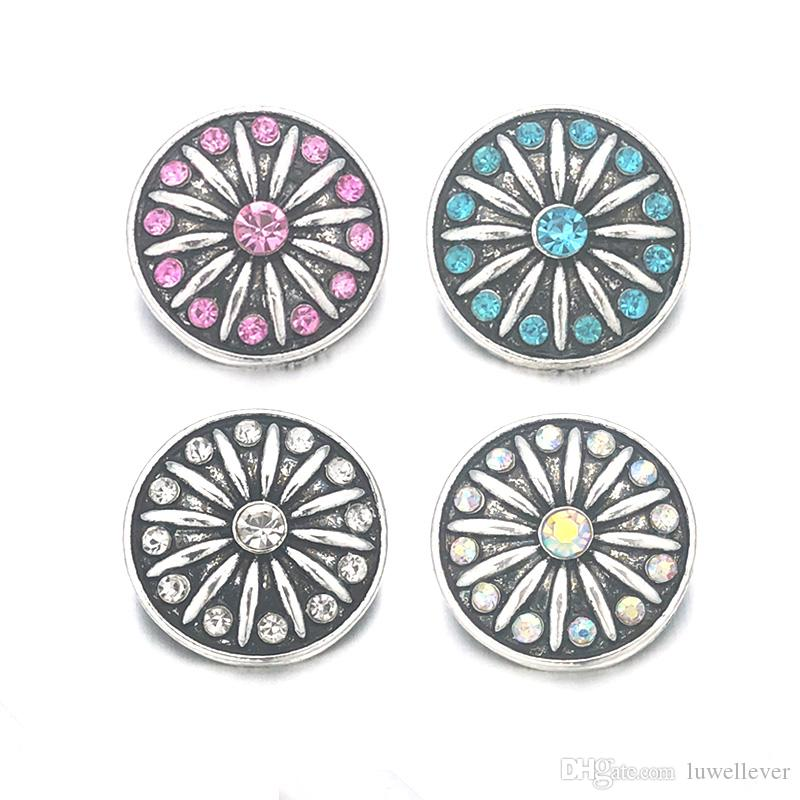 Wholesale 065 Flower 3D 18mm 25mm 30mm Metal Snap Button For Bracelet Necklace Interchangeable Jewelry Women Accessorie Findings