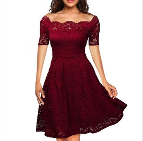 2019 boutique new sexy temperament show thin lace one-word off-the-shoulder big swing medium-length dress party dress
