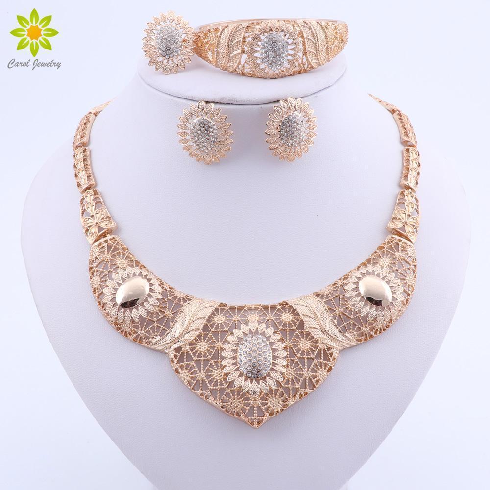 Sistemas de la joyería de la boda para la pulsera Pendientes collar de cristal de las novias Anillo de Mujeres Dubai color oro Bisutería