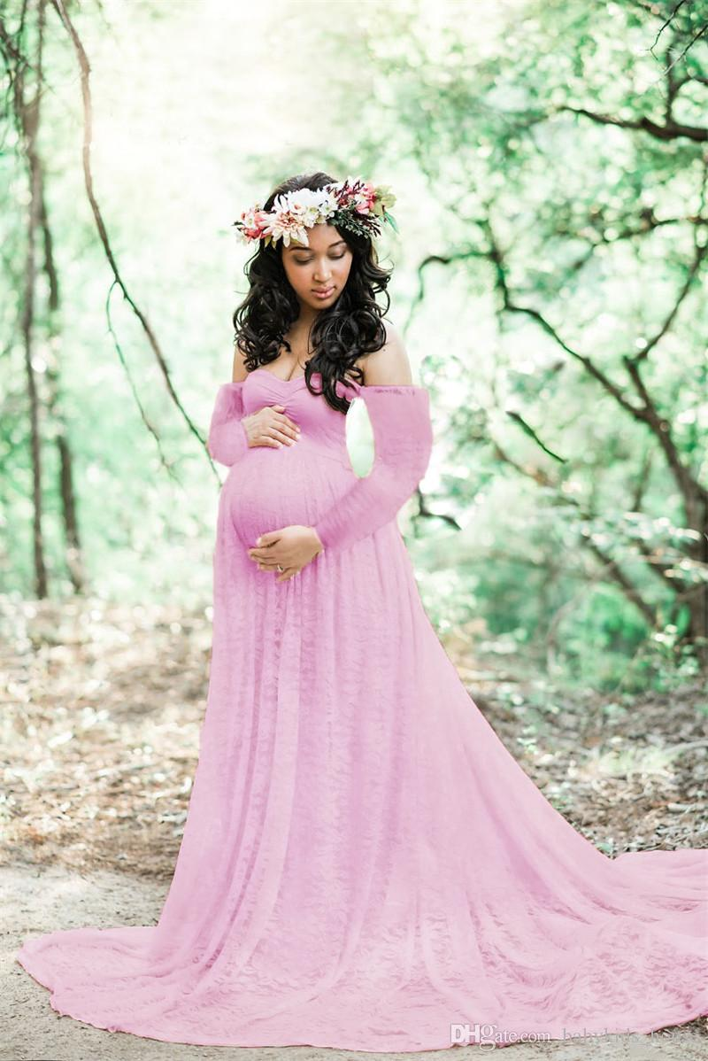 2019 Lace Maxi Gown Maternity Photography Props Pregnancy Dress For Baby Shower Gift Maternity Long Sleeve Dresses For Photo Shoot From