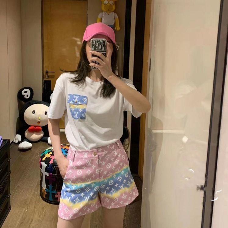 estate 2020 la stampa cucitura shorts in denim versione coreana a vita alta delle donne di bicchierini allentati donne abito + T-shirt