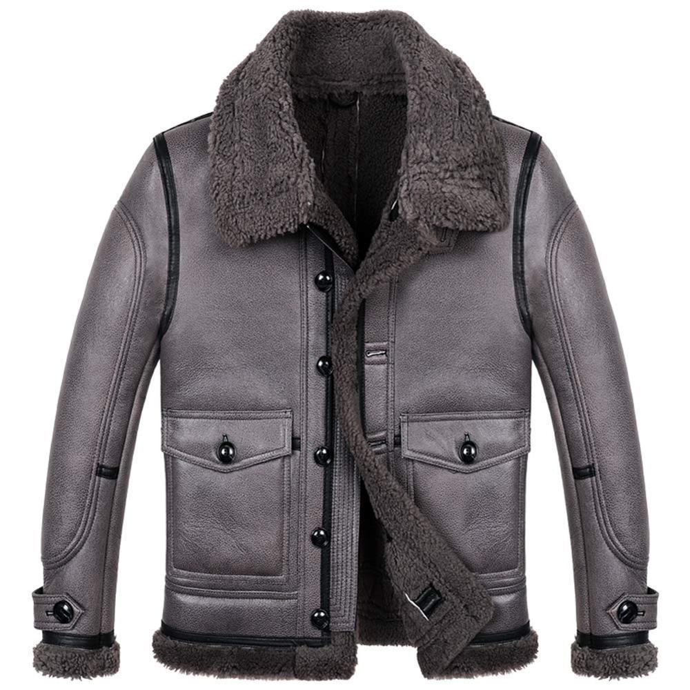 Мужская летная куртка B3 Shearling Мужская сильная теплая куртка в холодную погоду Короткая куртка из овчины