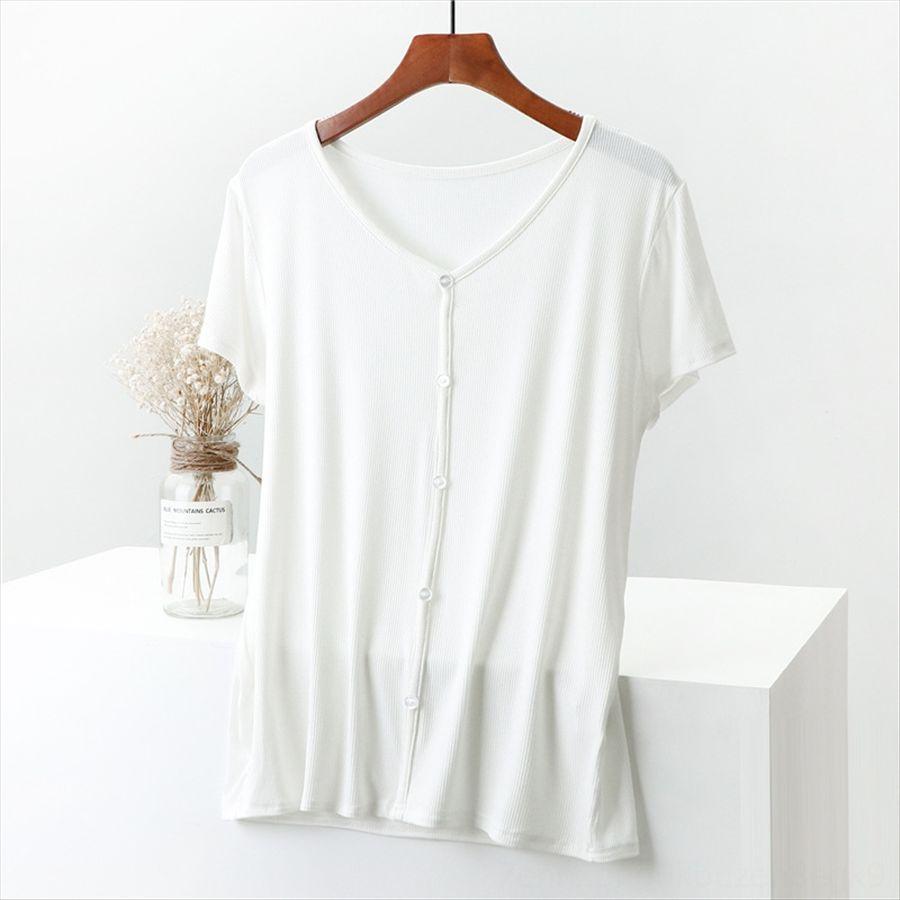 Dış modal V yaka T dişi Yaz 2020 tişört, iç taban ince üst büyük boy basit taban gömlek her maç