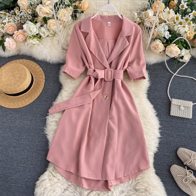 FMFSSOM Yaz İlkbahar Ofisi Bayanlar Kemer Düğmeler Çift Breasted Sashes Kadınlar Kadın A-line Yüksek Bel Elbise