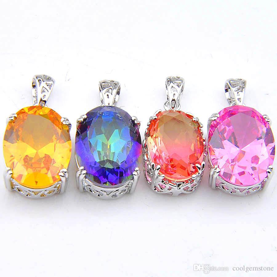 10 Unids / lote Único Mezcla Rainbow Crystal Zircon Piedra Preciosa 925 Colgantes de Plata Collar para Las Mujeres Bi Colgantes de Turmalina