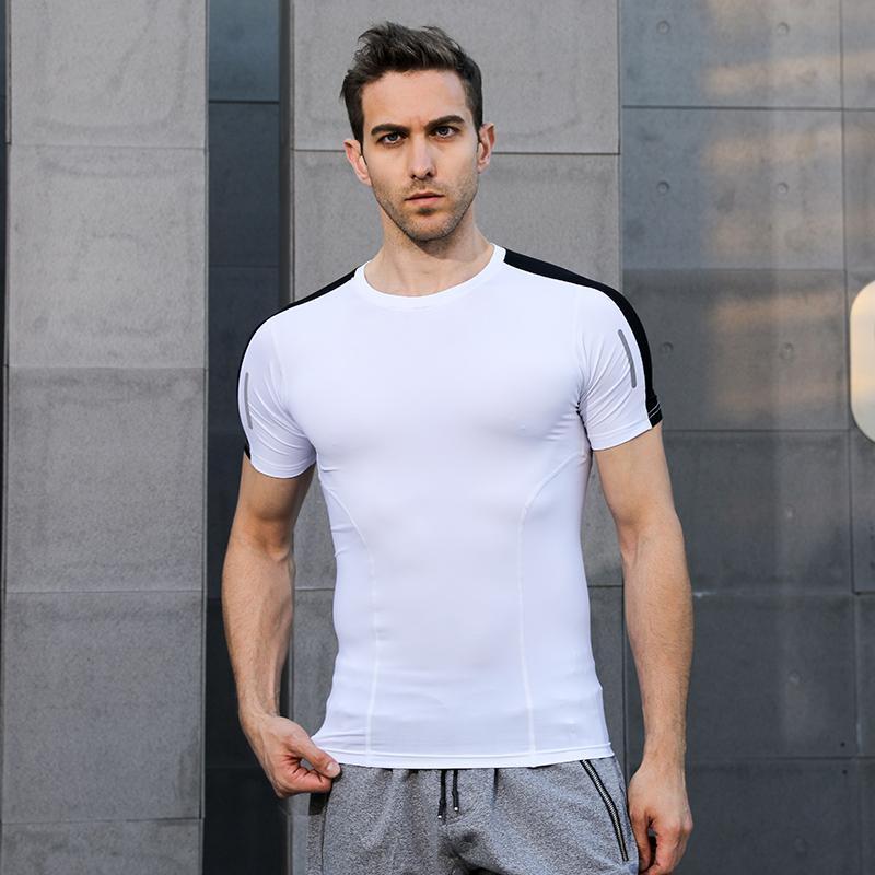 Camiseta de los deportes de los hombres Camisa de manga corta de compresión gimnasia camiseta aptitud de los hombres