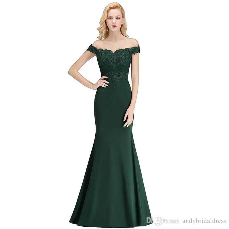 2020 Nuevo del hombro de la sirena vestidos de baile verde Longitud de noche elegante vestidos formales suelo con apliques