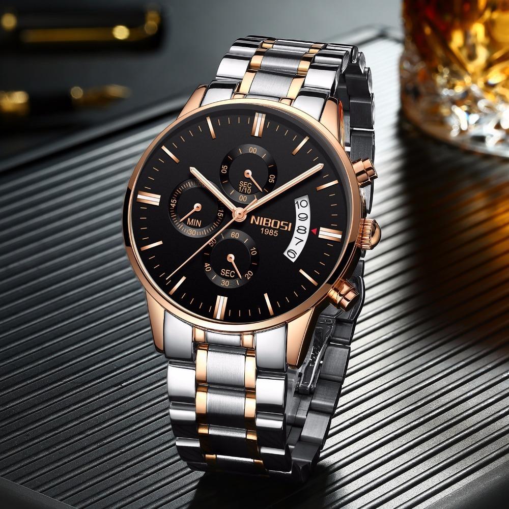 Rose Gold Color Men Watch Luxury Top Brand Men's Watch Fashion Dress New Military Quartz Wristwatch Hot Clock Male Sport NIBOSI T200113