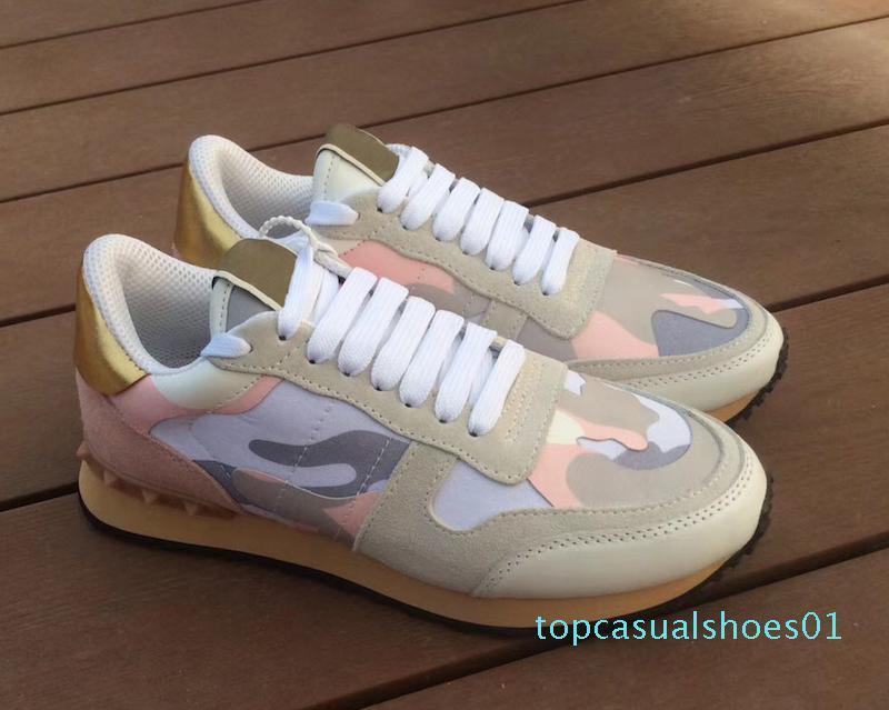 erkek lüks tasarımcı rockrunner kamuflaj Sneakers Ayakkabı Erkekler Kadınlar Flats sepetleri de markalaşmış tasarımcı de luxe femmes Günlük Ayakkabılar T01