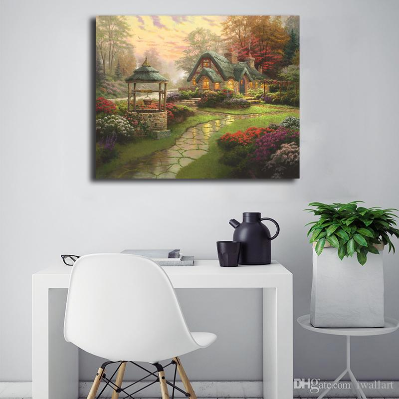 2019 Thomas Kinkade Make A Wish Cottage Canvas Posters Prints Wall Art Painting Decorative Picture Modern Home Decoration Accessories Framework From