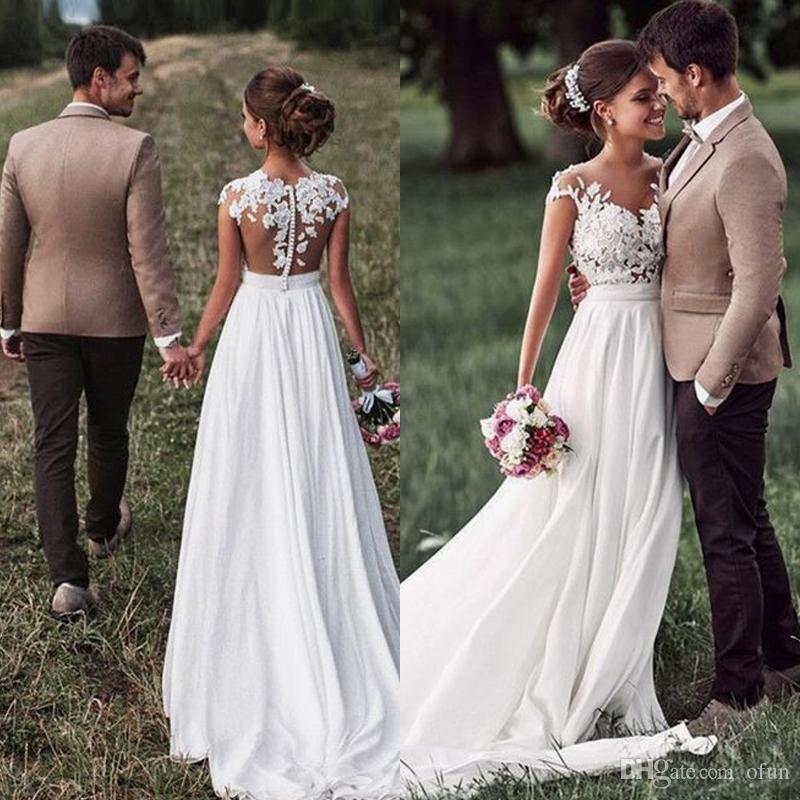 Простой линия шифон свадебное свадебное платье развертки поезд длинное свадебное платье дешевые свадебное платье с аппликациями