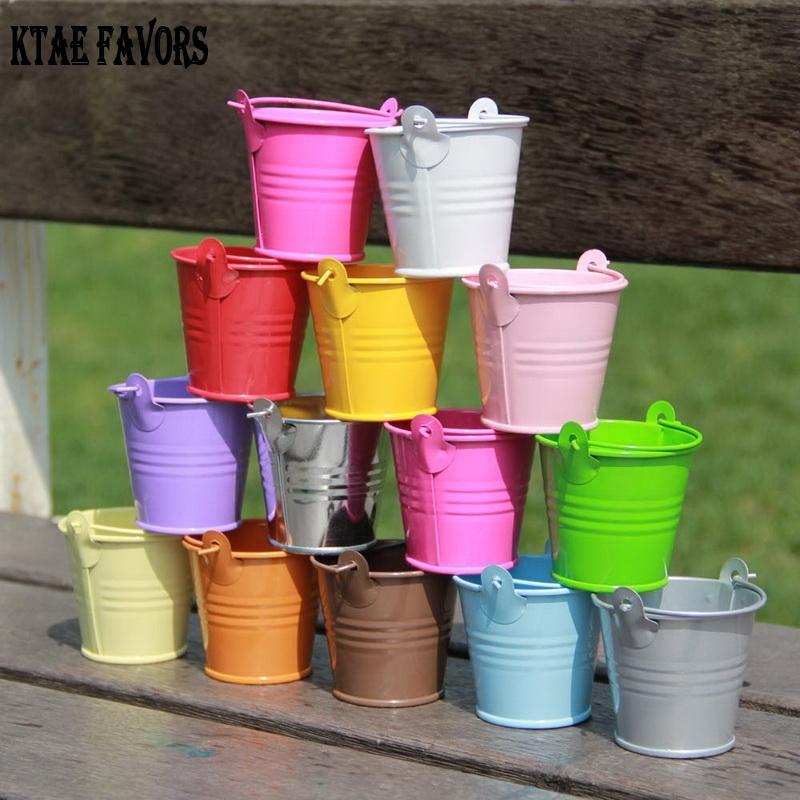 كيت المفضلة 10 قطع معدنية دلو صغير ملون حفل زفاف لصالح صندوق هدية دلاء الحلوى مربع