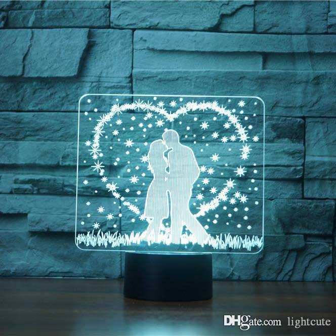 Beijo apaixonado ilusão 3D Lamp táctil de 7 Cor Mudar USB Table Lamp bebê dormir Supplies Presentes Night Light Crianças festa de anos