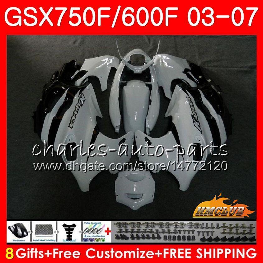 Body Black White for Suzuki Katana GSXF750 GSXF600 2003 2004 2005 2007 3HC.26 GSX600F GSX750F GSXF 600 750 03 04 05 06 07 Kit de justo