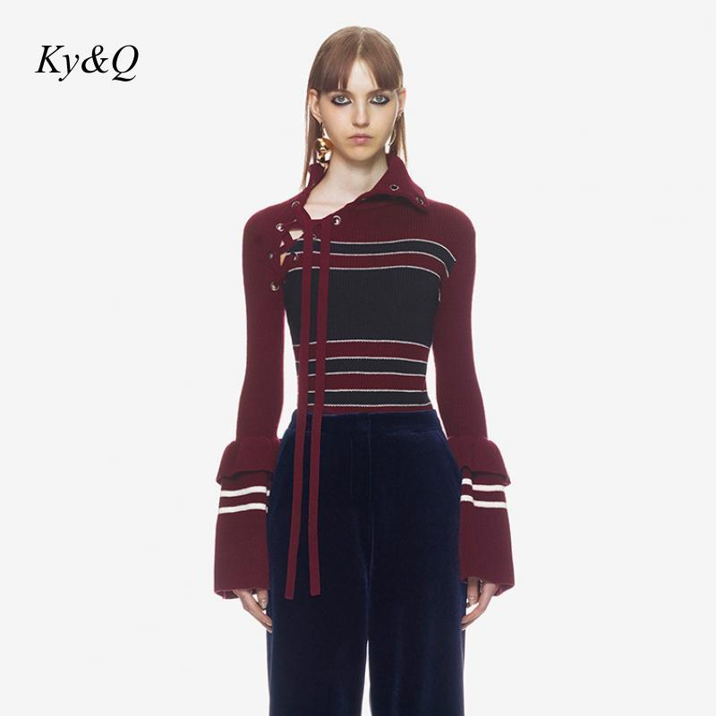 2019 Brand Designer Bandage Collar Women Winter Sexy Pullover Red Striped Chic Pullover Flare Sleeve Warm Sweater Christmas