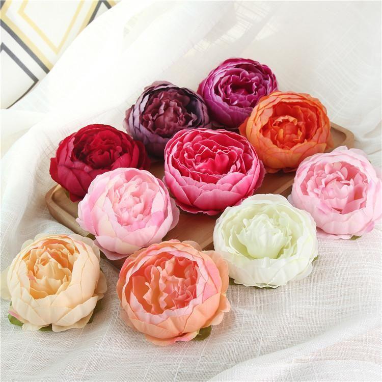 2020 10cm künstliche Blumen für Hochzeit Dekorationen Silk Pfingstrose-Blumen-Köpfe-Partei-Dekoration-Blumen-Wand-Hochzeit Kulisse Weiße Pfingstrose