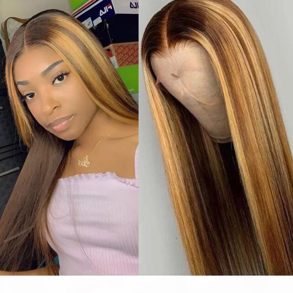 Ombre Highlight Wig Brown Honey Blonde Colored HD Whole Lace Front Human Hair Wigs Straight Full 360 Lace Frontal Wig Remy