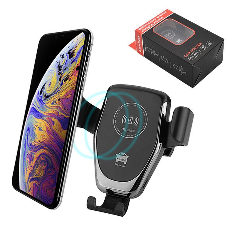 Caricabatteria da auto veloce Caricabatterie per cellulare senza fili Gravità Caricabatteria da auto compatibile Supporto per telefono per iPhone XS XR X Samsung S9