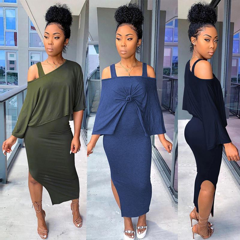 Atractiva delgada para mujer de los chándales Diseñador casual color sólido 2 pieza del vestido de la falda de Split flojos Smock mujeres de la manera chándales
