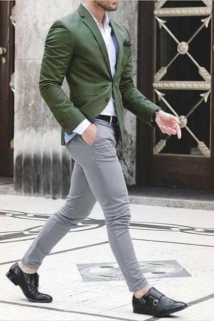 Green Suit Men Blazer Formal Wedding Suit With Pants Terno Smart Casual Street Tuxedo Slim Fit Prom Jacket Costume Homme Custom