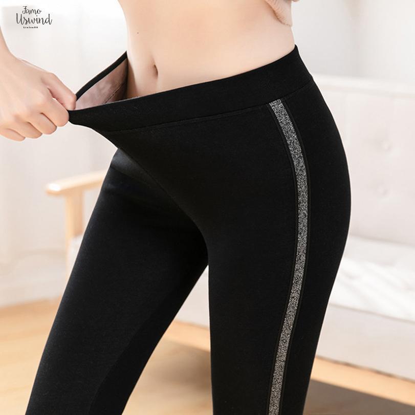 Yan Sonbahar Pamuk Kadife Tozluk Kadınlar Yüksek Bel Kış Çizgili Sporting Spor Tayt Pantolon Sıcak Kalın Tayt
