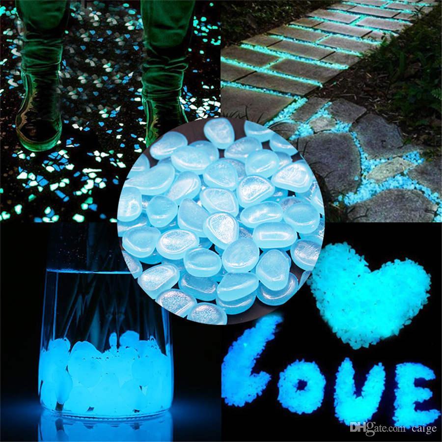 100pcs piedra luminosa tanque de peces de acuario de adoquines fluorescente decoración del jardín luminosa fuente de luz natural, piedra coloreada