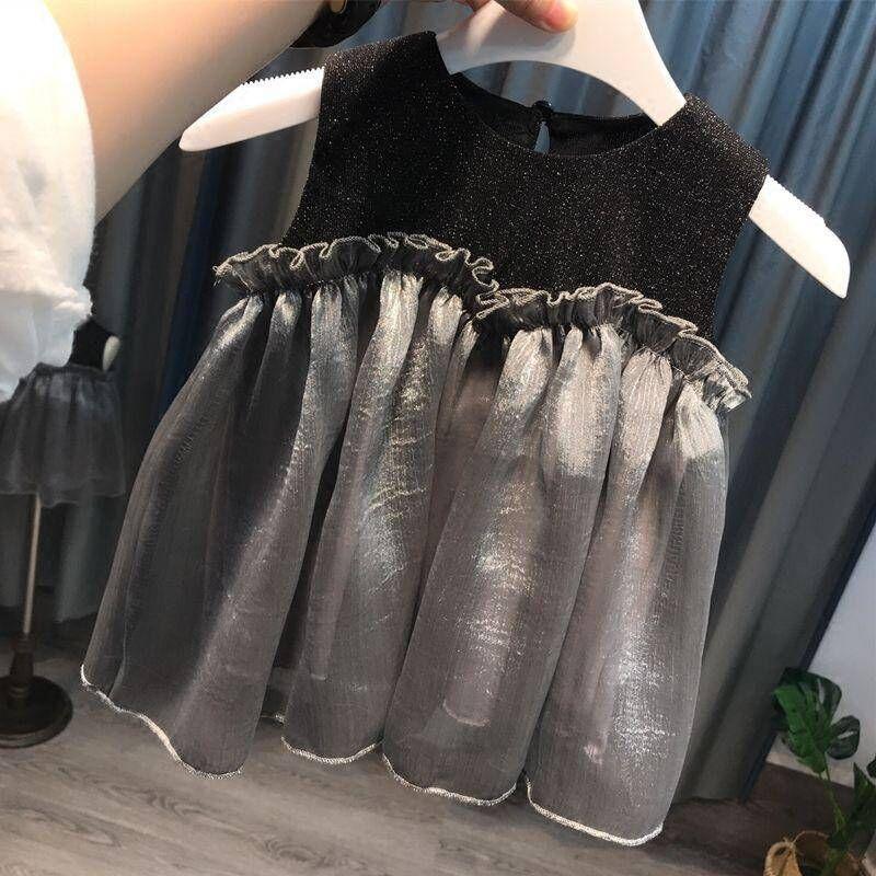 Vestidos da criança do partido Bebés Meninas Lace casamento Tulle vestido Tutu Princess Dress Moda sem mangas meninas shinny o
