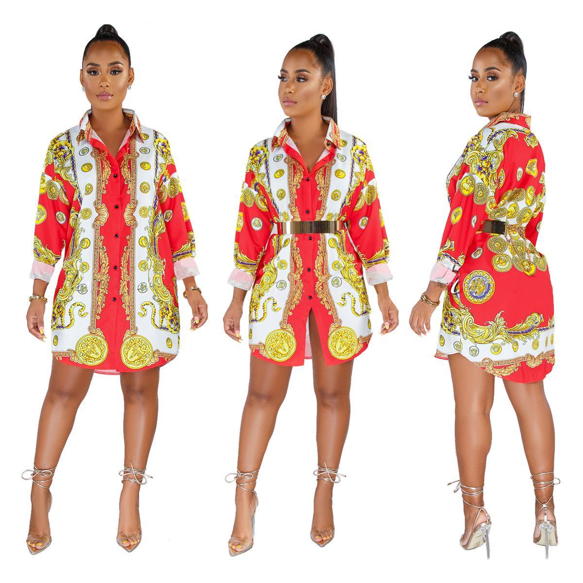 Envío completo de camisas estampadas y vestidos multicolores de moda europea y americana envío gratis