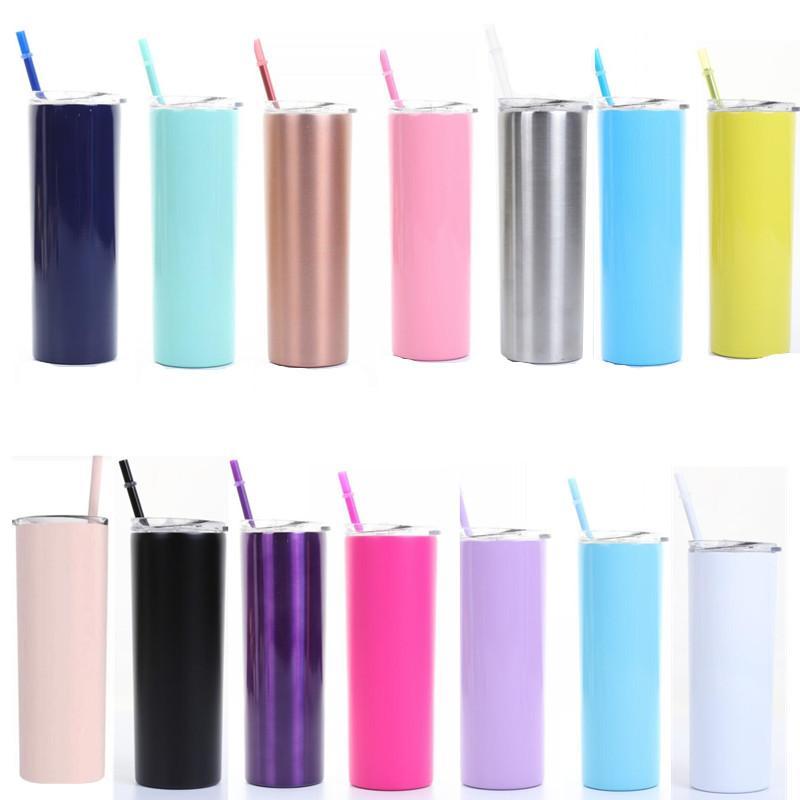 Sıcak veya soğuk içecekler 75pcs için döşeme kapaklar Straw ve Temizleme Fırçası ile Paslanmaz Çelik Skinny 20 OZ Çift İzoleli Su Tumbler Kupası Seyahat Mug