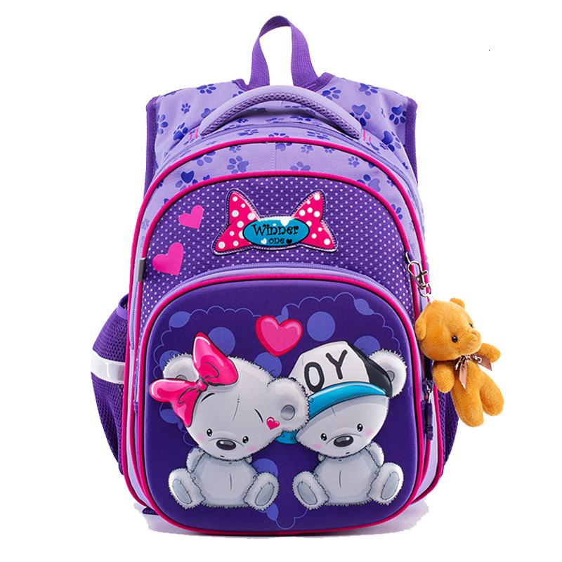 For 2020 Children Bags Girls 3D Cartoon Bear Cat Backpack Kids Orthopedic School Backpacks mochila escolar Grade 1-4