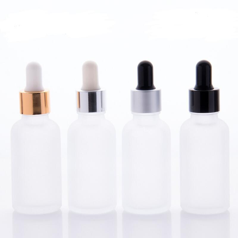 Fosco vidro vazio Dropper Bottles 30ml Para Óleo Essencial Líquido recarregáveis garrafas 1 OZ Com Preto Prata Cap E Vidro Pipeta