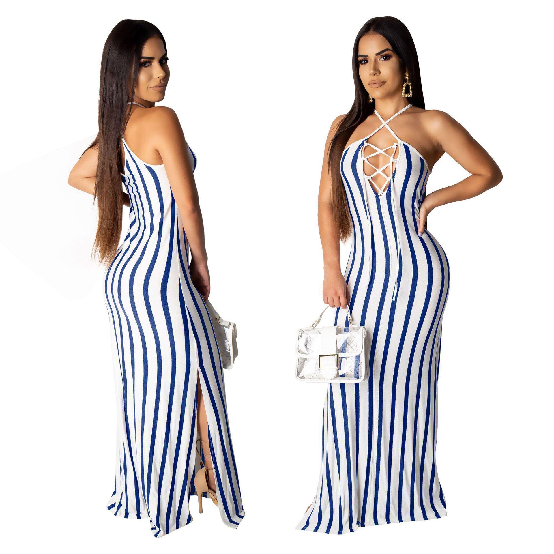 Byer Juniors Vertical Stripe Halter Sleeveless Maxi Dress A