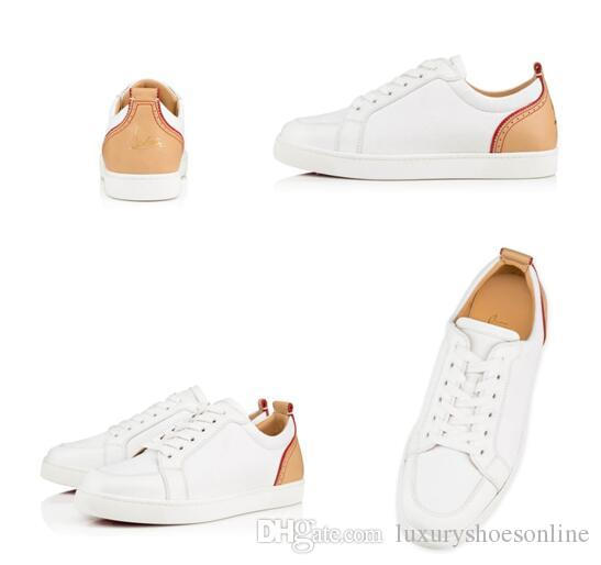 Pares Diseñador Rantulow X Blanco Zapatillas de cuero genuino Zapatos de fondo rojo de alta calidad para mujeres, hombres Popular Casual al aire libre - Boda de fiesta
