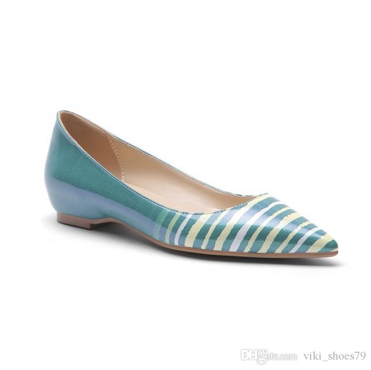 Più recente spedizione gratuita Attactive stampa arcobaleno belle donne abito scarpe Autunno tacco basso Primavera tacco piatto Scarpe da ufficio ragazza mocassini della signora