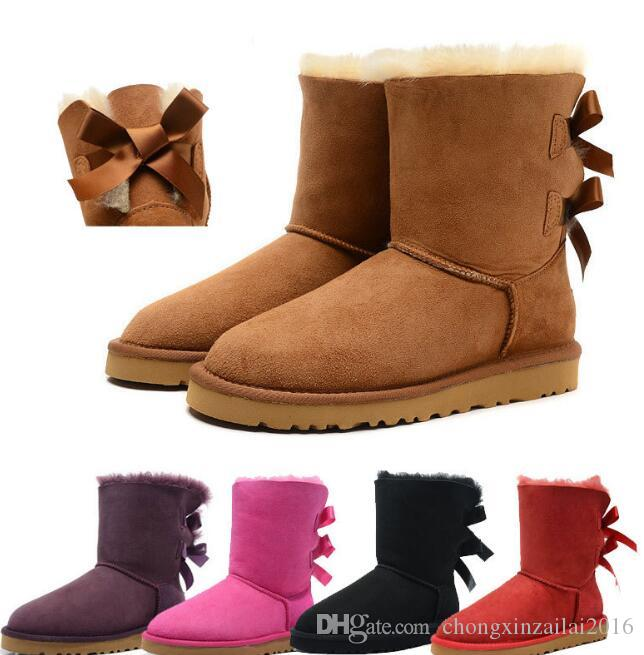 2020 Дешевых дизайнер Австралия женщины классических снегоступов лодыжка короткого лук ботинок шерсти для зимы черного каштан дамской обуви размера 35-41
