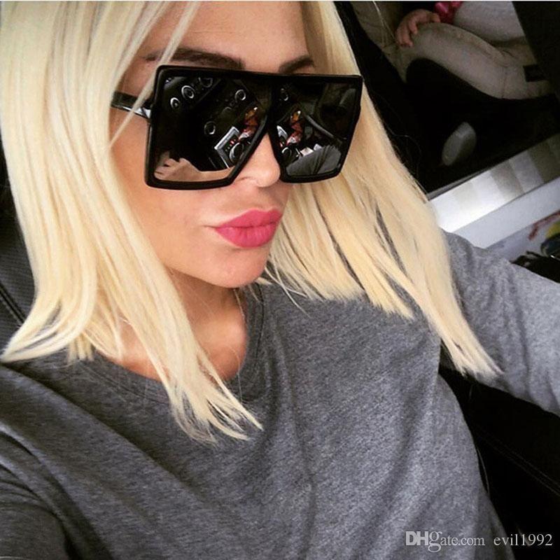 [EL تفاح] ساحة كبيرة الإطار النظارات الشمسية النساء الرجال المتضخم خمر مصمم العلامة التجارية الوردي الأسود الفضة عدسة مرآة ظلال نظارات شمسية SG051