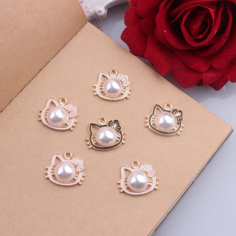 Cat Perle Emaille-Legierungs-Gold überzog Farben-Charme-Anhänger für handgemachte Diy Ohrring-Halskette Schlüsselanhänger-Armband Schmuck Accessoires machen