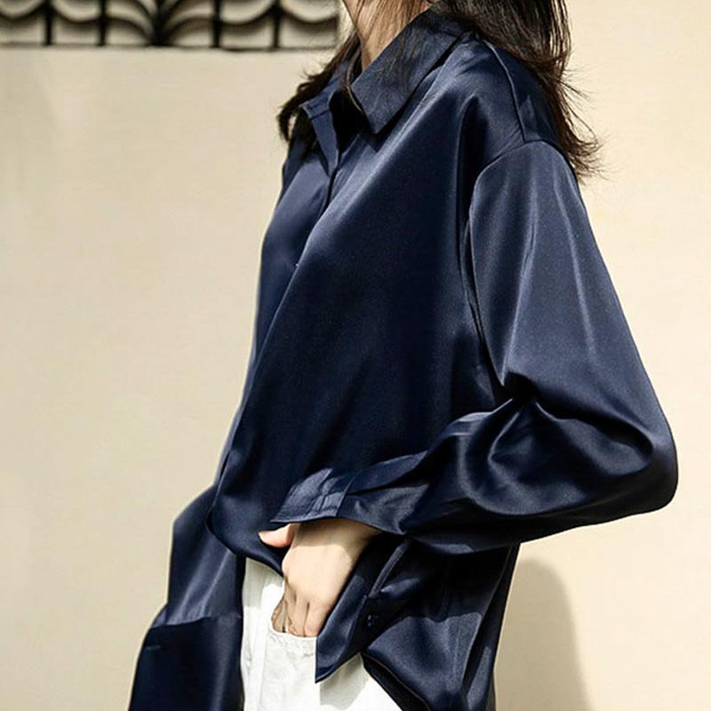 En vrac Loisirs Vintage Hong Kong Solide Style Hauts Collar Turn-down et blouses automne femmes blanc Chemise à manches longues T200502