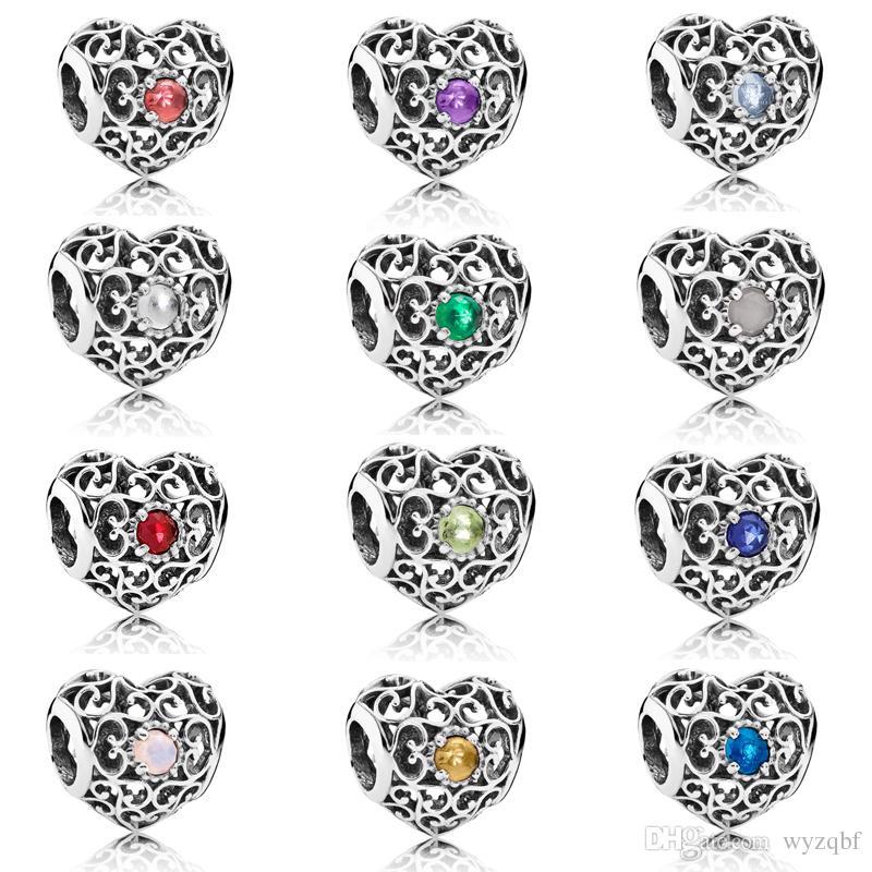 Стерлингового Серебра 925 Ажурный Сердце Шарм Месяц Подпись Сердце Камень Из Бисера Fit Pandora Браслет DIY Ювелирные Изделия
