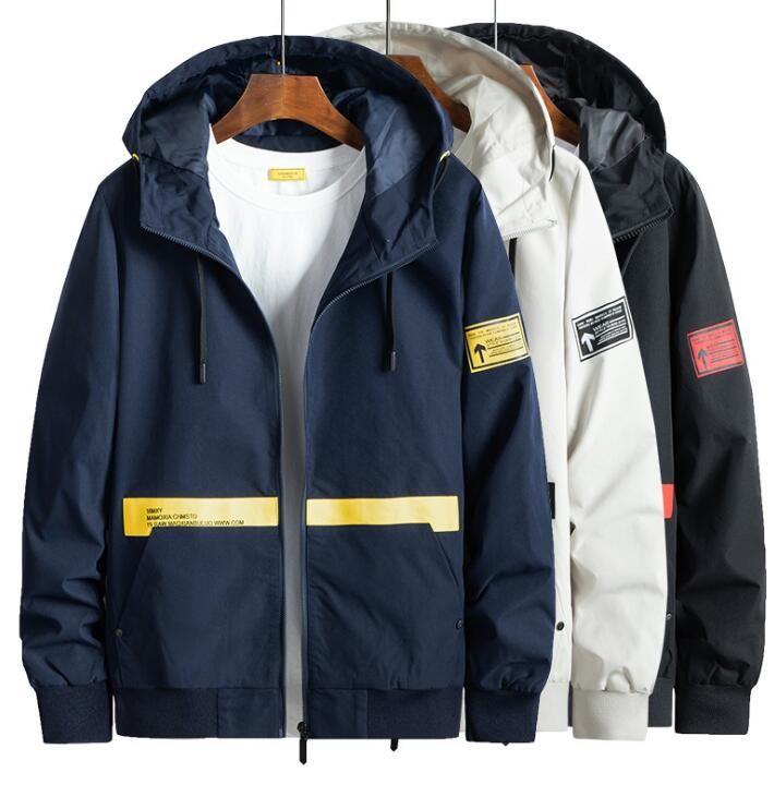 Casual Thin Slim Moda Primavera Autunno giacca uomo gioventù Giacche cappotto bello Trend incappucciato Windbreaker del collare del basamento Top rivestimento della tuta sportiva