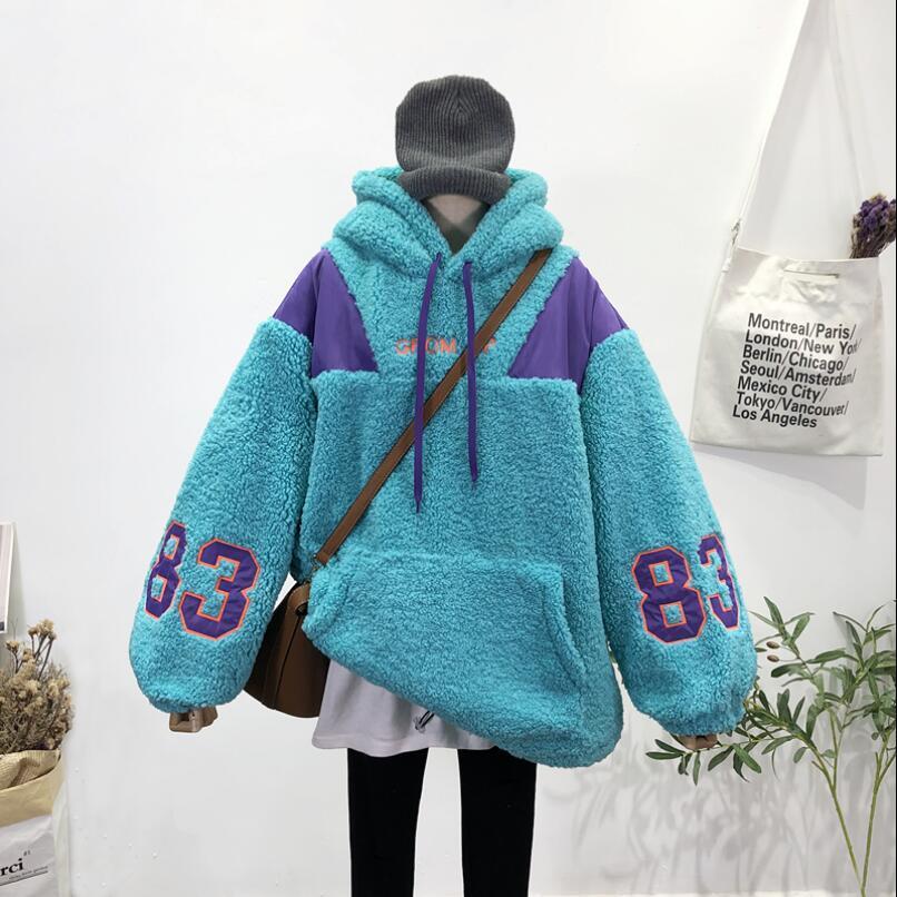 Bf Lazy viento Carta bordado Capucha Escudo de lana de cordero terciopelo camiseta caliente Cap otoño e invierno chaqueta suelta Estudiante sudaderas