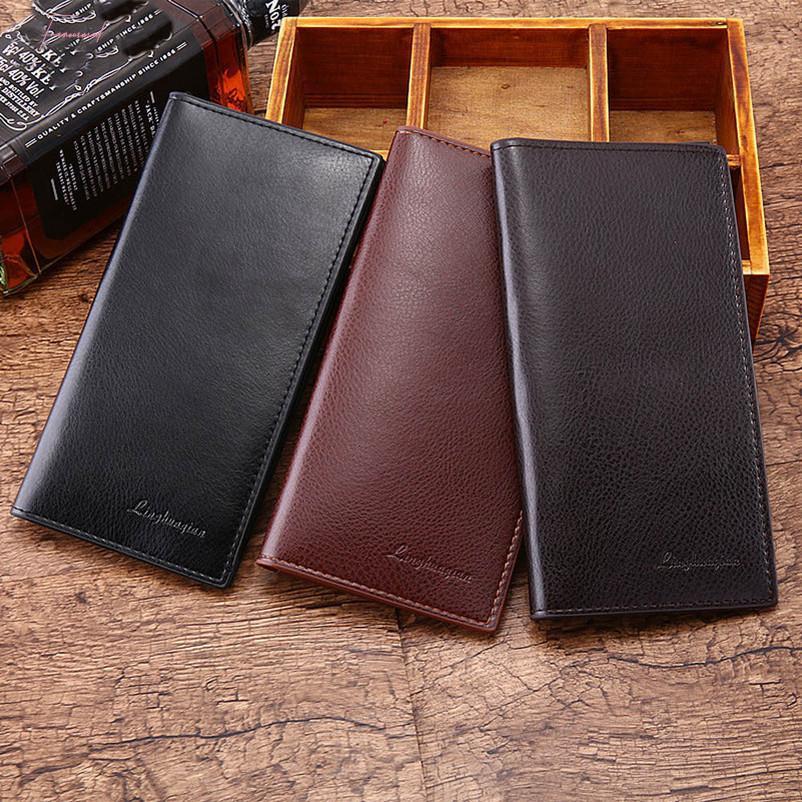 Man Wallet Leather Concise Money Bag Huge Capacity Purse Card Holder Carteira Portfel Wallets Billeteras Para Hombre Mini