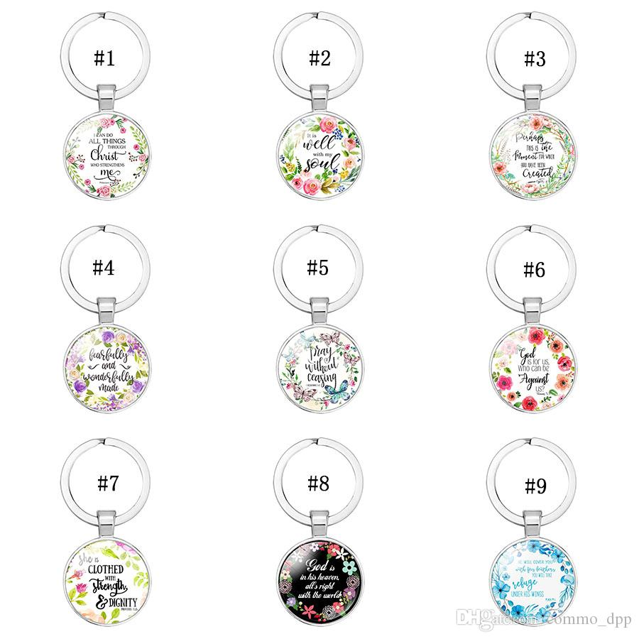 2019 Catholic Rose Scripture keychains For Women Men Christian Bible Glass charm Key chains Fashion religion Jewelry accessories